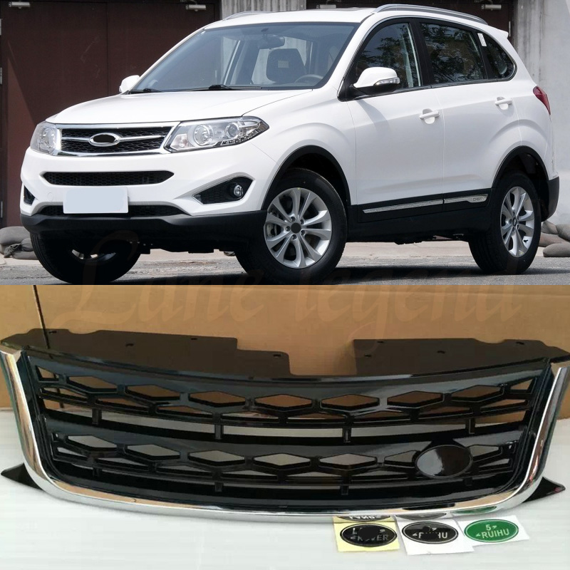 Front Sport Hex Mesh Honeycomb Hood Grill Gloss Black for Chery Tiggo5 2014 2015 2016 2017 year With emblem