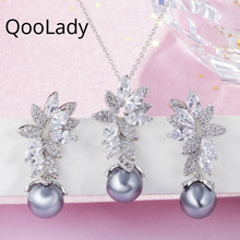 QooLady Fashion Marquise Cut Cubic Zirconia Crystal Leaf Flower Grey Pearl Jewelry Set Earrings and Necklaces for Women ZO17