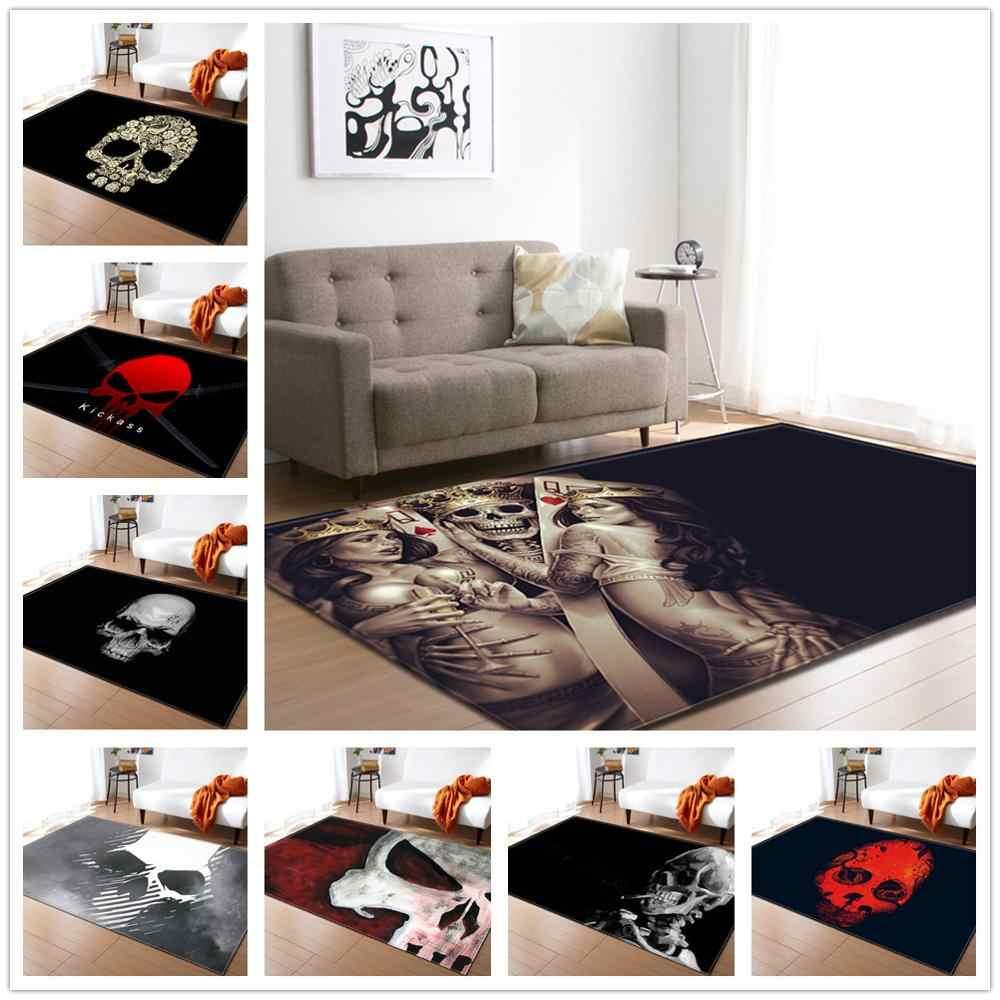 30 phong cách Đầu Lâu Series Hoa Văn Thảm Phòng khách Phòng Ngủ Khu Vực Thảm Halloween Trang Trí Thảm Bàn Thảm