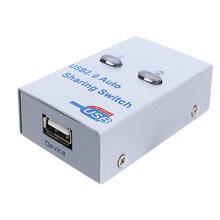 USB 2.0 Splitter automatico accessori elettronici per PC stampante compatta a 2 porte in metallo condivisione Switch per ufficio HUB Adapter Box Scanner