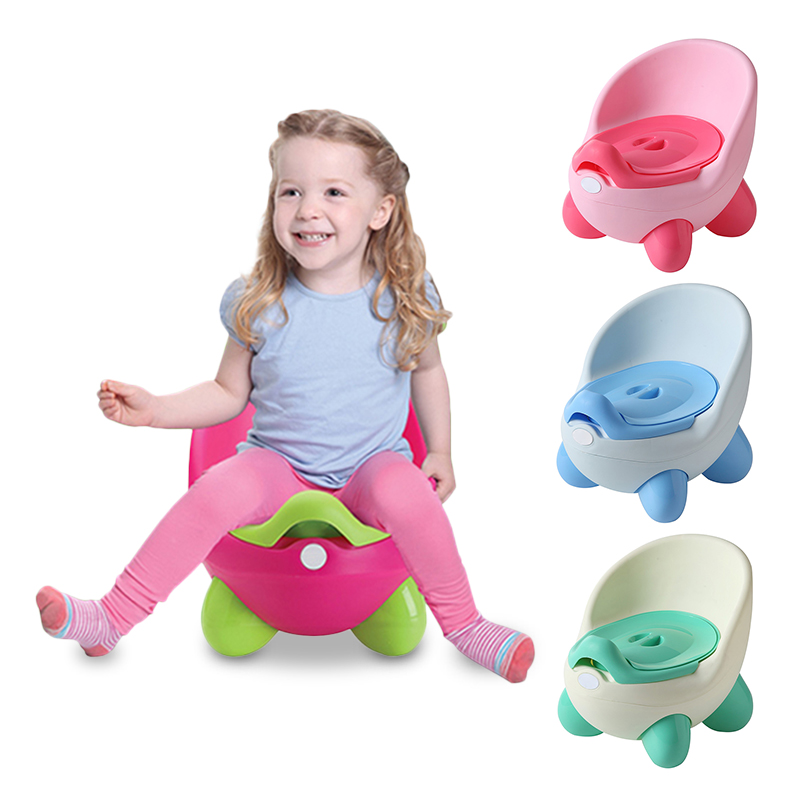 Portable Potty Baby Toilet Seat Pot Bowl Cute Children's Pot Kids Plastic Training Pan Comfortable Cartoon Backrest Toilet Pots