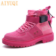 AIYUQI Women Boots 2019 Winter Genuine Leather Flat Bottom Round Tie Casual Shoes Thick Martin Female