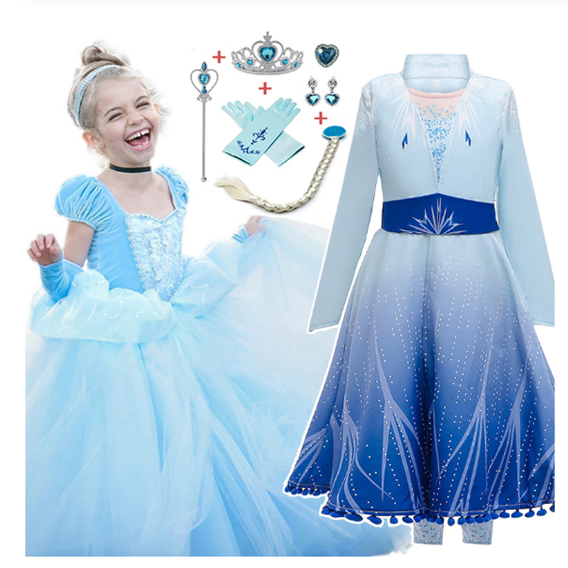 New Elsa Dress Girl Costume Kids Party Dress For Girl Cinderella Dress Snow White Princess Dresses Rapunzel Aurora Belle Anna