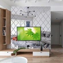 Pegatinas de espejo 3D de plata para pared, calcomanías artísticas autoadhesivas con forma de diamante para espejo de TV, Fondo de decoración del hogar