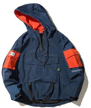 Front Pocket Pullover Jackets Men  Autumn Half Zipper Hoodie Jacket Male Hip Hop Casual Windbreaker Coat Streetwear