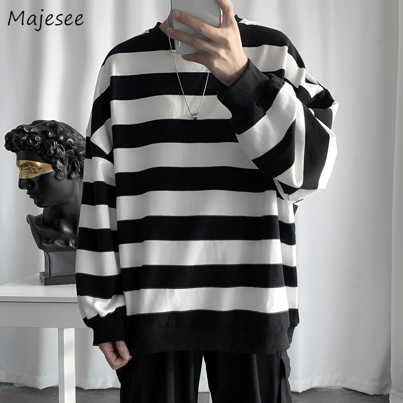 Hoodie Men Simple Striped Plus Size Loose All Match Harajuku Clothes Street Style Mens Hoodies And Pullovers Black Sweatshirts