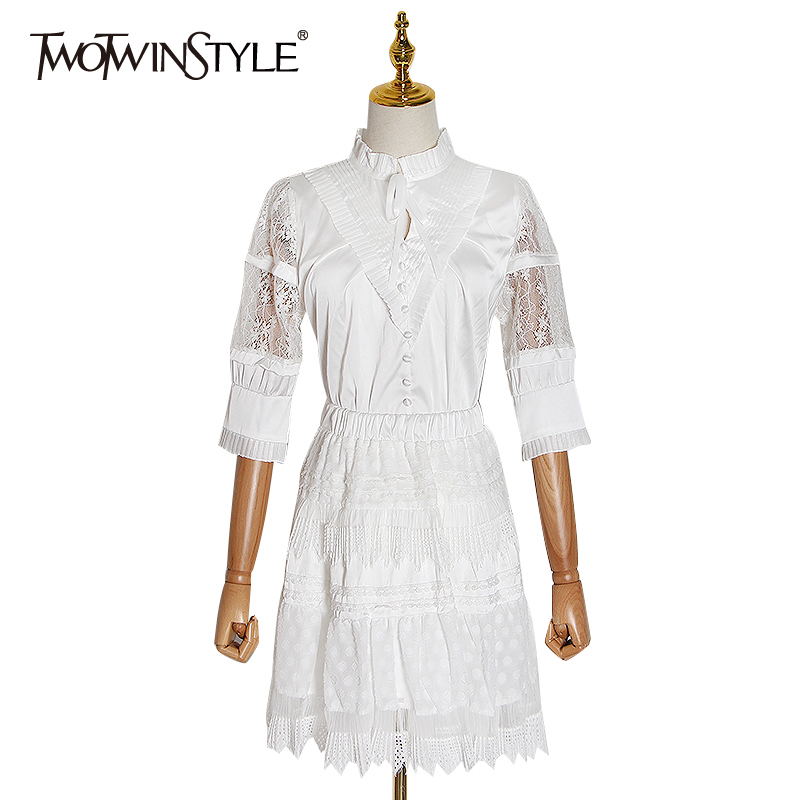 TWOTWINSTYLE Patchwork Lace Two Piece Set For Women O Neck Short Sleeve Shirt High Waist Mesh Skirts Female Spring 2020 New