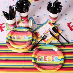 Вечерние принадлежности для Fiesta, 25 шт., 177 шт., одноразовый набор посуды с мексиканской темой, включая тарелки, салфетки для стаканчиков 9 унци...