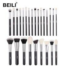 BEILI – ensemble complet de pinceaux de maquillage professionnels, 25 pièces, ombre à paupières, poudre de fond de teint, poils de chèvre naturels noirs