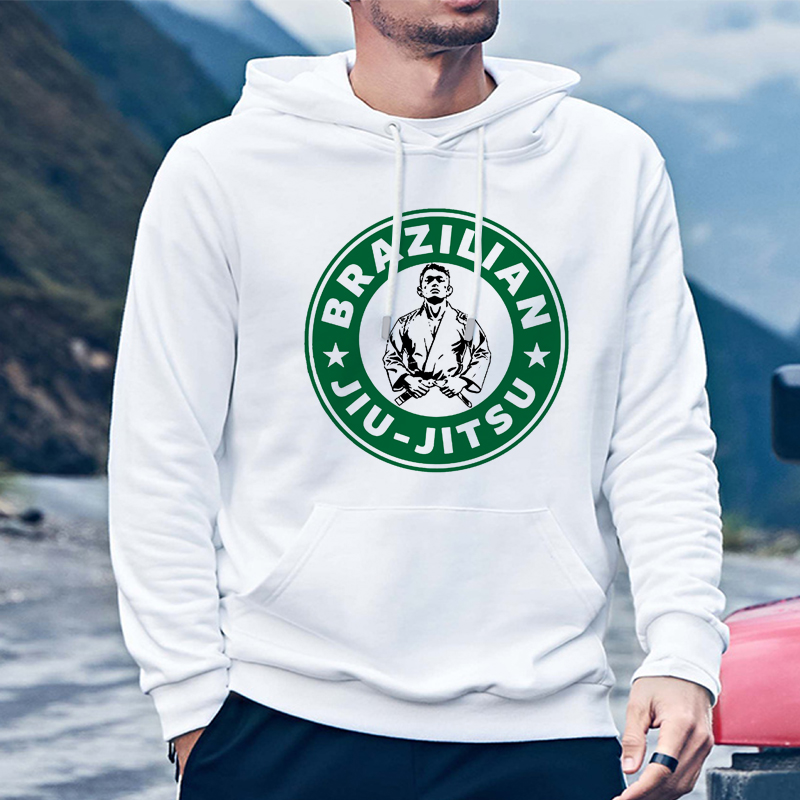 Men's Hoodies Brazilian Jiu Jitsu Hooded Hoodie Sweatshirts Boy Long Sleeves Bjj Hoody Bespoke Winter Casual White Sudadera Top