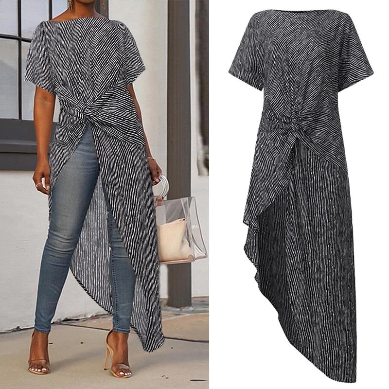 VONDA Women Asymmetrical Blouse Sexy Split Hem Striped Party Tops Long Ladies Office Shirts 2019 Summer Tunic Plus Size Blusas