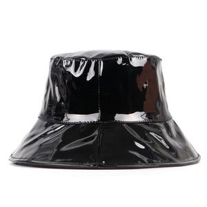 Chapéu de balde preto de couro feminino 2020 tendência aba larga bob chapeau femme hip hop gorro pescador mujer boné