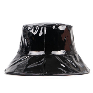 Cuero negro sombrero con forma de cubo para mujer 2020 tendencia de ala ancha sombrero de bob femme hip hop gorro pescador mujer pescador tapa