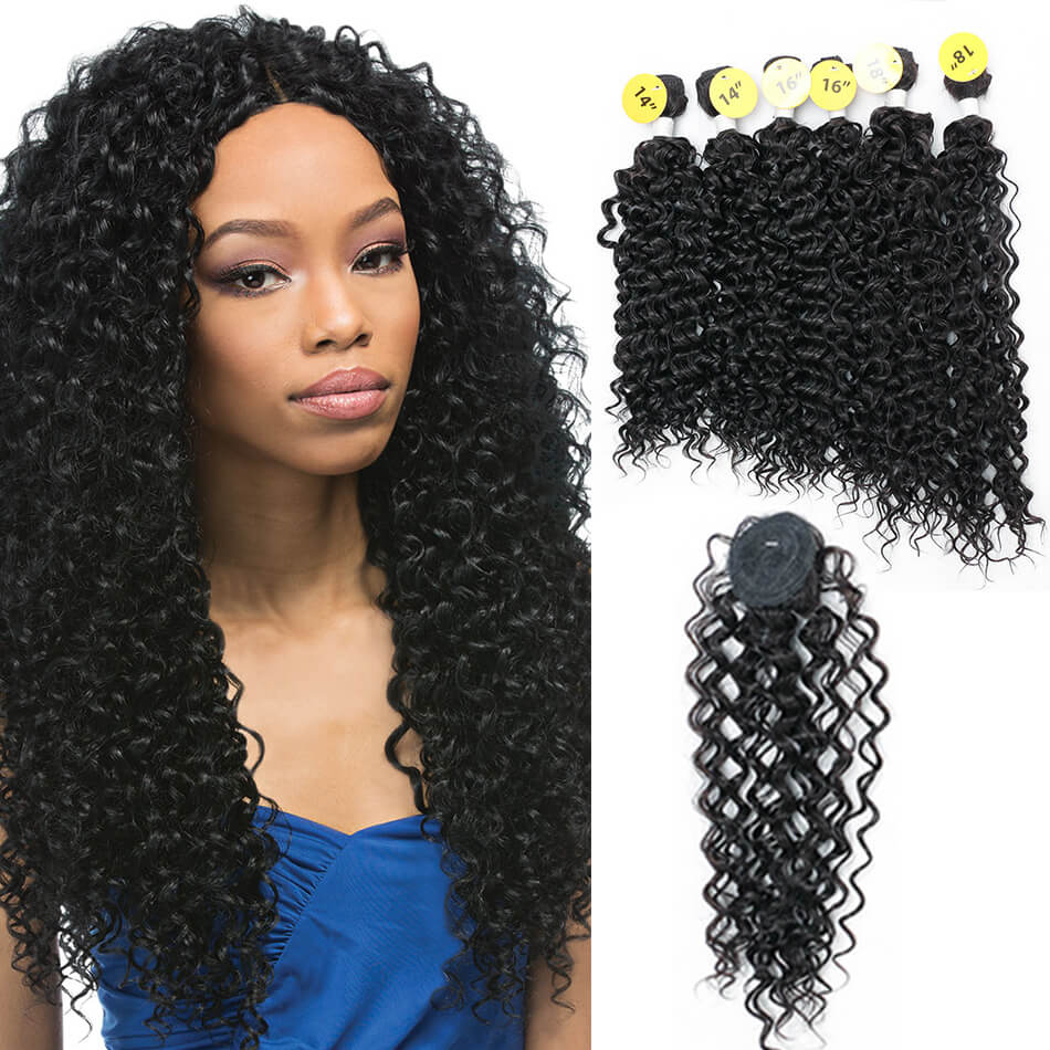 Meepo Kinky Curly Hair Weave Bundles With Closure Natural Black (14*2+16*2+18*2)7Pcs/Lot Synthetic High Temperature Fiber Hair