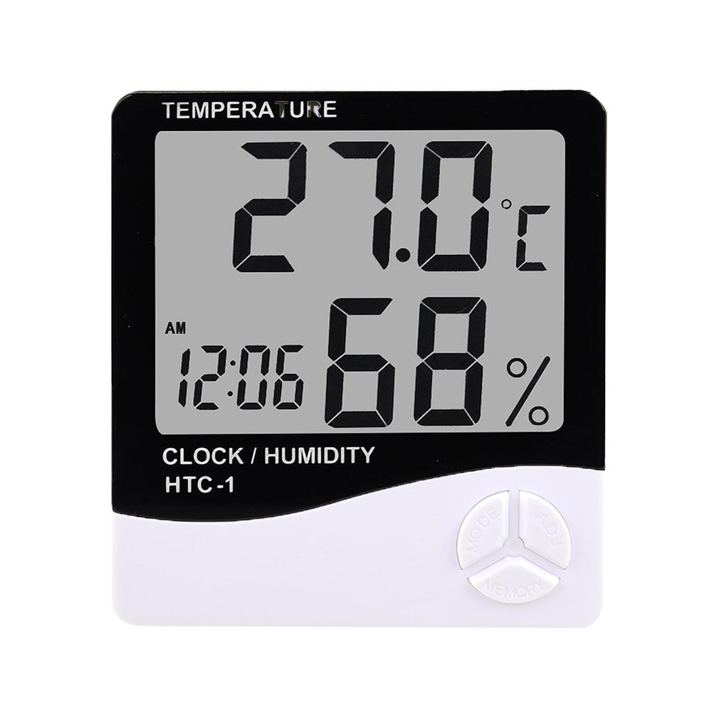 ЖК-дисплей цифровой Температура измеритель влажности HTC-1 HTC-2 домашние открытый термометр гигрометр метеостанция с часами