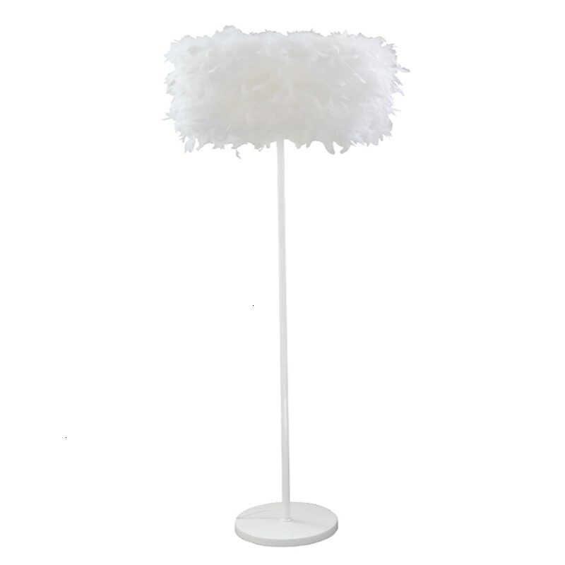 Lámpara de pie nórdica moderna, pluma de cristal, blanca, Vertical, para estudio, dormitorio, blanca, lámpara de mesita de noche, lámparas de pie