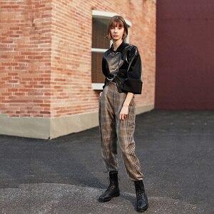 Image 4 - [EAM] Loose Fit Black Asymmetrical Pu Leather Jacket New Lapel Long Sleeve Women Coat Fashion Tide Spring Autumn 2020 1H079