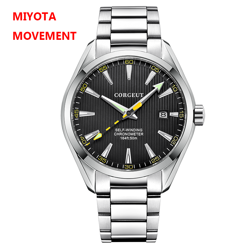 Corgeut 41mm Men Clock Black Dial MIYOTA 8215 Automatic Calendar Mechanical Sapphire Crystal Men Wristwatch Luxury Top Brand