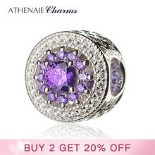ATHENAIE 925 Sterling Silver with Pave Clear CZ & Purple Heart Radiant Openwork Charm Beads Gift for Birthday, Anniversary Day
