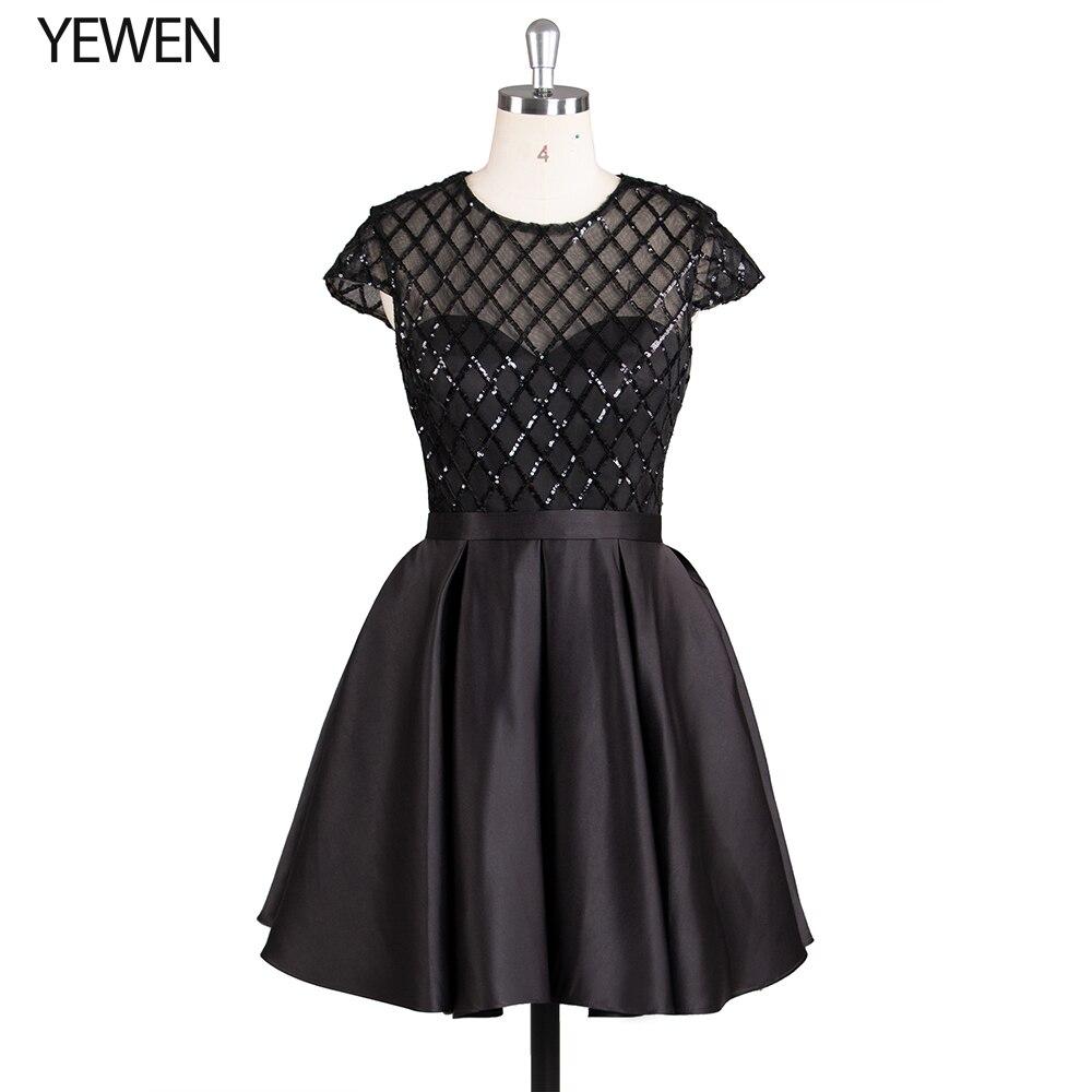 Black Formal Prom Dress Short elegant O-Neck short sleeve cocktail dresses special occasion dresses vestido de coctel 2020