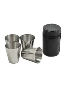 Drinking-Shot Glasses Polished-Wine Barware Stainless-Steel Home 30ML Cup with Cover