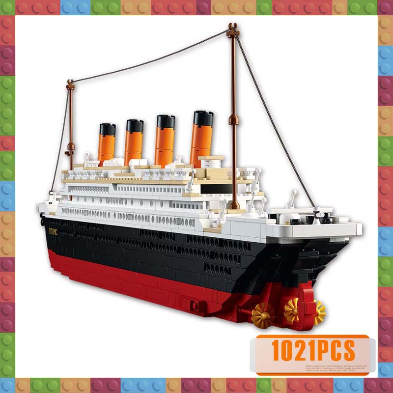 Model Building Kits City Titanic RMS Cruise Ship 3D Blocks Educational Model Building Toys Hobbies for Children