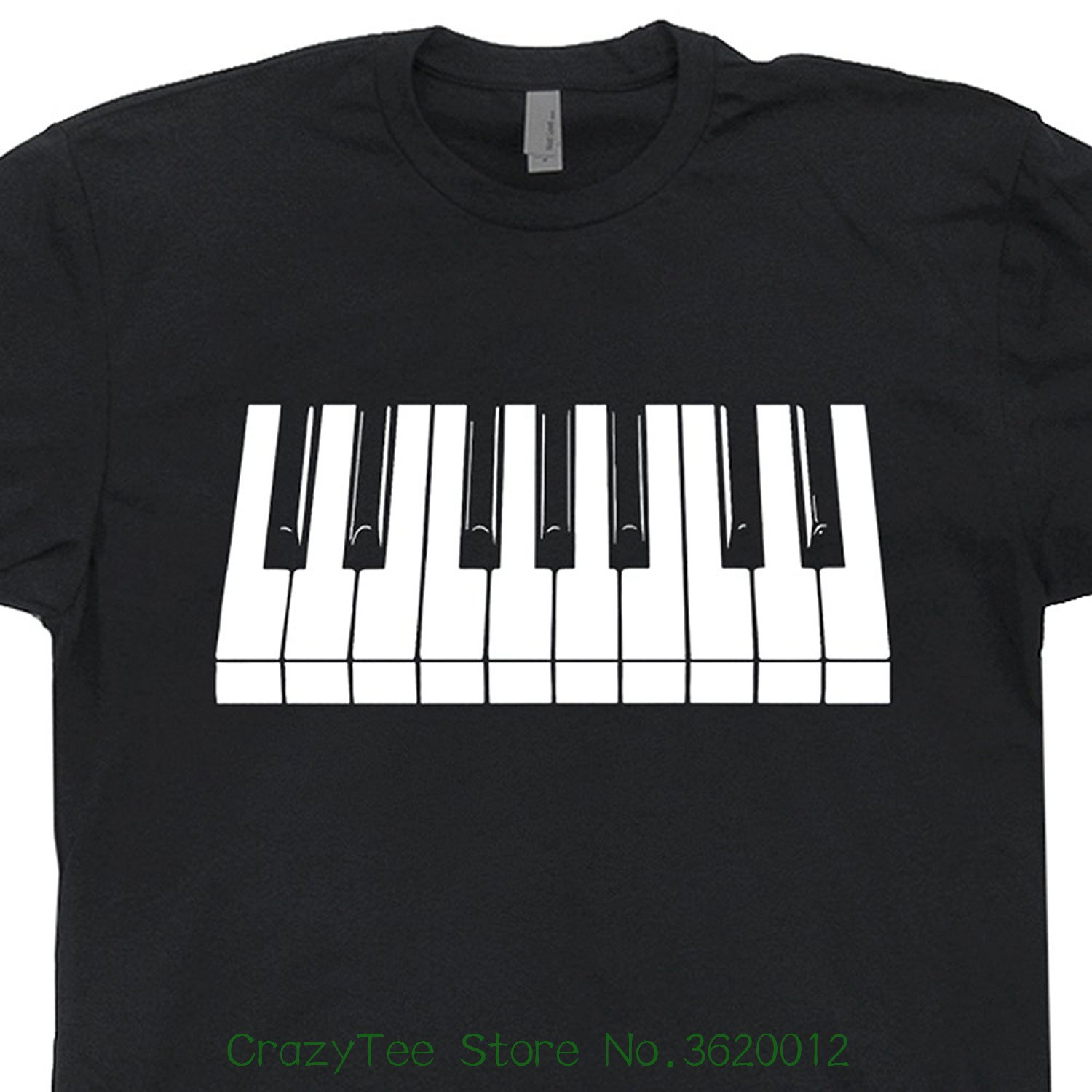 Piano Keys T Shirt Keyboard Shirts White And Black Keys Cool Rock Player Playing Pianist Keytar Jazz Blues Tee Mens Shirtmandude image