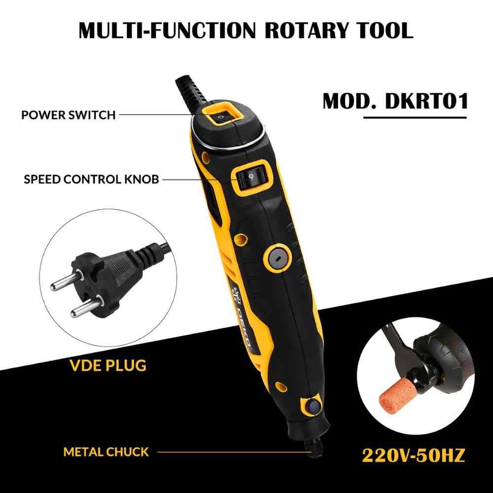 Deko dkrt01 220 v velocidade variável mini moedor de corte broca elétrica polimento perfuração ferramenta rotativa com acessórios