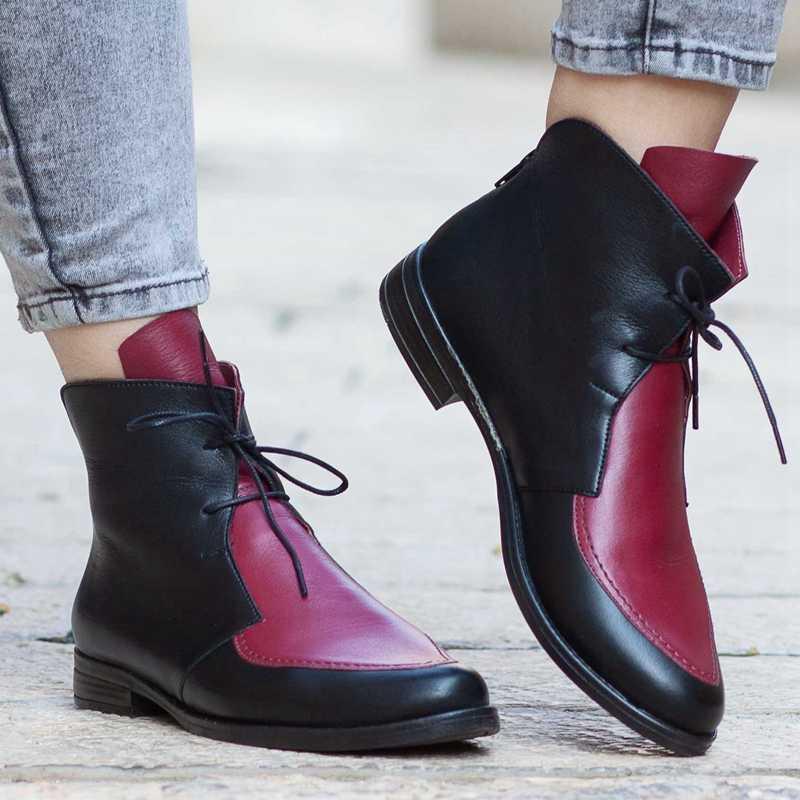 Puimentiua ayak bileği bağcığı Çizmeler Kadın Platformu Deri Toka Ayakkabı Kalın Topuk Kısa Çizme Bayanlar Rahat Ayakkabı Drop Shipping