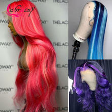 30Inch Highlight Pink Blonde HD Transparent Lace Frontal Human Hair Wigs Glueless 13x6 Ombre Blue Full Lace Front Wigs Body Wave