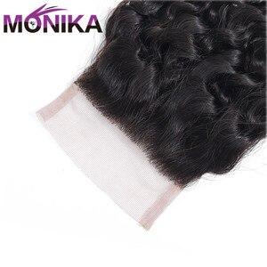 Image 5 - Monika saç brezilyalı kapatma derin dalga İnsan saç kapatma İsviçre dantel 4x4 kapatma saç olmayan Remy ücretsiz/Orta/üç bölüm kapanışları