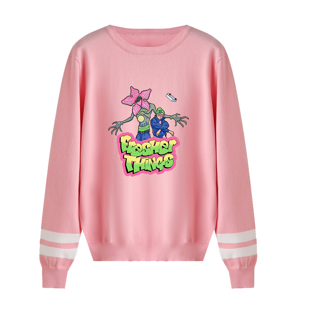 Stranger Things O-neck Sweater Men/women Fall/Winter Casual Pink Sweater Warm Fashion Harajuku Round Collar Casual Sweater
