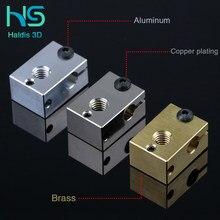 Haldis 3D V6 coated Cooper heater Blok V6 processed PT 100 3D printer V6 Warmte Blok Voor E3D V6J-HooFD Hofd BMG Extruder Titan