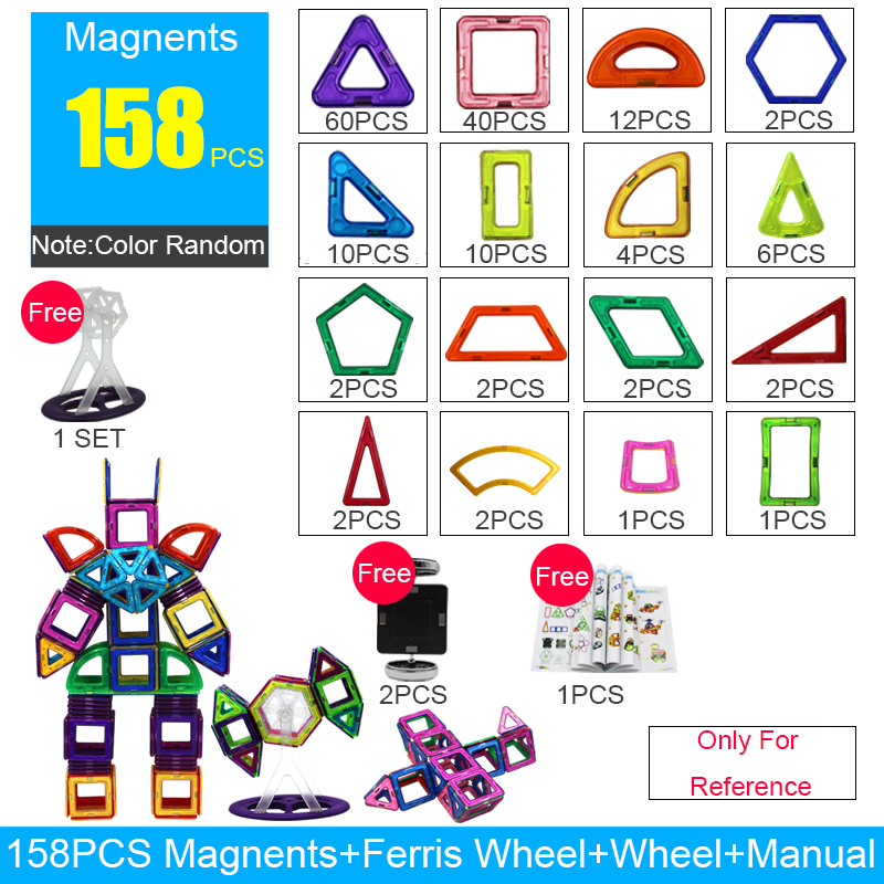 158 Pcs/Set BIG Size Magnetic Blocks Magnetic Designer Construction 3D Model Magnetic Blocks Educational Toys Kids Birthday Gift