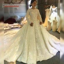2020 müslüman kızlar düğün elbisesi tam astar dantel gelin elbise uzun tren ile dubai