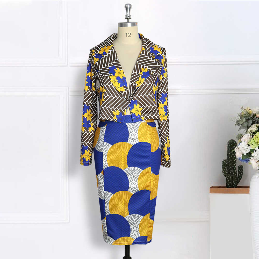 Vrouwen Twee Stukken Set Gedrukt Korte Blazer En Potlood Rokken Lange Mouwen Elegant Office Lady Fashion Werkkleding Sexy Afrikaanse suits