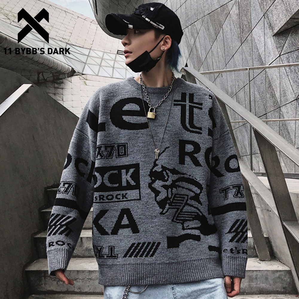 11 BYBB'S DARK Letter Printed Hip Hop Knitted Sweater Men 2019 Autumn Winter Harajuku Streetwear Ripped Casual Pullover Outwear