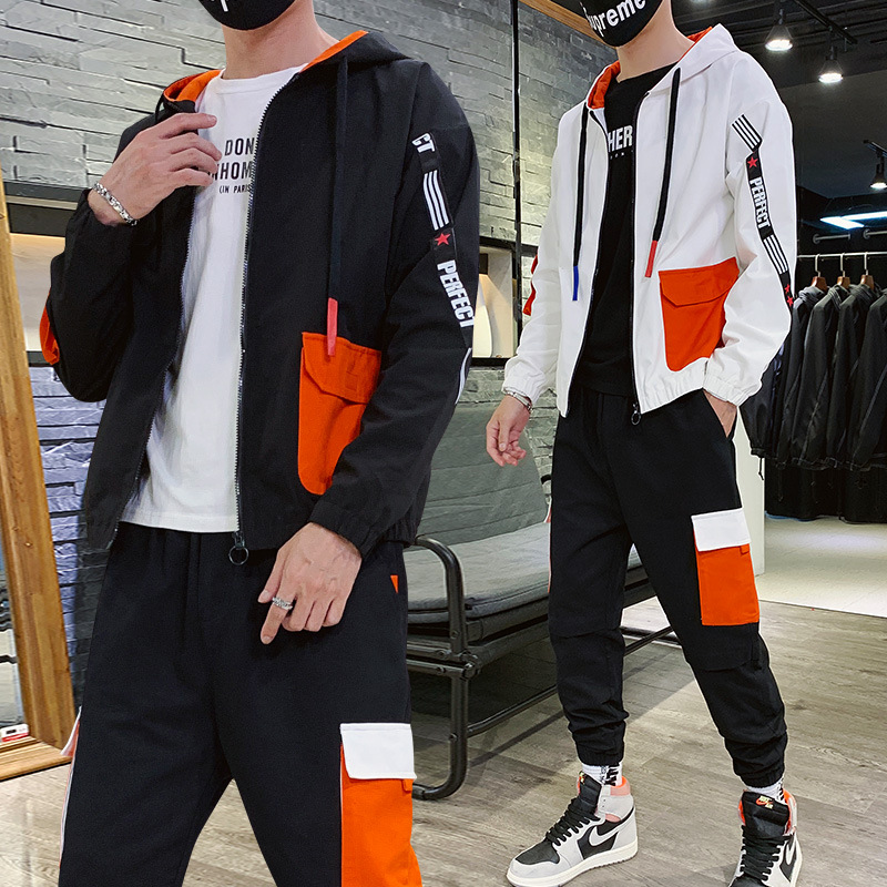 2019 New Style Autumn Clothing Men's Korean-style Trend Leisure Suit Men's Handsome Teenager Students Sports Clothing Two-Piece