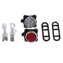 Bicicleta de alta qualidade ciclismo 3 led cabeça luz 4 modos usb recarregável cauda clipe lâmpada dwaterproof água 3525;