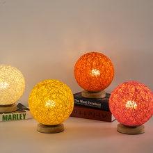 Творческий японский настольная лампа ручной вязки абажур дерево