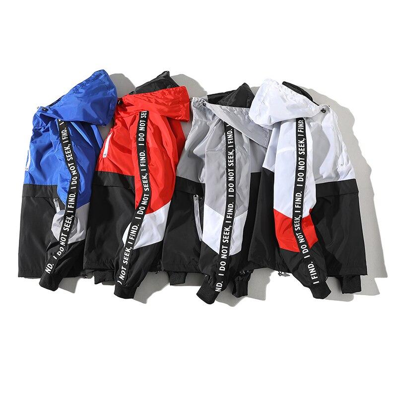 Leggibile 2019 Patchwork Nero Pullover di Modo Del Rivestimento Tuta Casual Uomini Cappotto Giacca a Vento Hip Hop Streetwear Cappuccio Giubbotti Uomini - 5