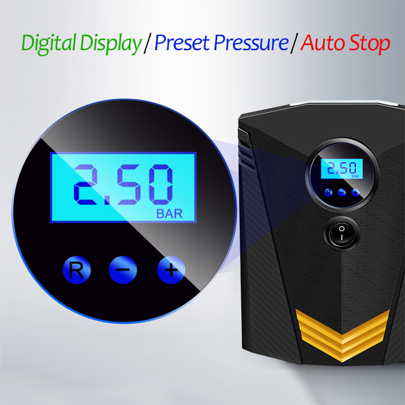 Portable Car Air Compressor DC 12V Digital Tire Inflator Air Pump 150 PSI Auto Air Pump for Car Motorcycle LED Light Tire Pump 3