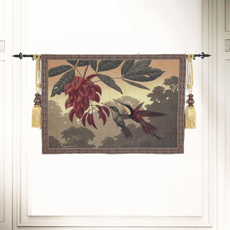 135x95cm Jacquard Style chinois oiseau tapisserie murale tenture Boho décor coton paysage mur tapis