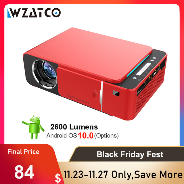 WZATCO T6 Android 10 WIFI Optional 3000lumen 720p HD Tragbare LED Projektor HDMI Unterstützung 4K 1080p heimkino Proyector Beamer