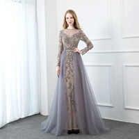YQLNNE Grau Langarm Abendkleid 2019 Bling Strass Tüll Abendkleid
