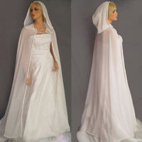 White Ivory Women Shawl Chiffon Wedding Cloak Long Hooded Bridal Capes Jackets