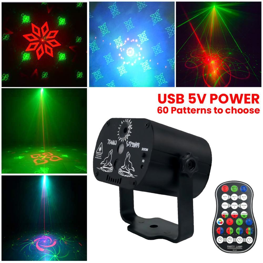 mini 60 modos rgb efeito de luz discoteca usb led palco projetor vermelho azul verde lampada