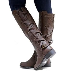 Image 2 - Женские сапоги до колена MORAZORA, удобные повседневные Сапоги на молнии с пряжкой на квадратном каблуке, сезон осень зима, большие размеры 43, 2020