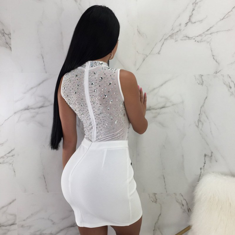 Female Sleeveless Summer Dress Slim Bag Hip Mini Dress Sexy Half High Collar Dress in Dresses from Women 39 s Clothing
