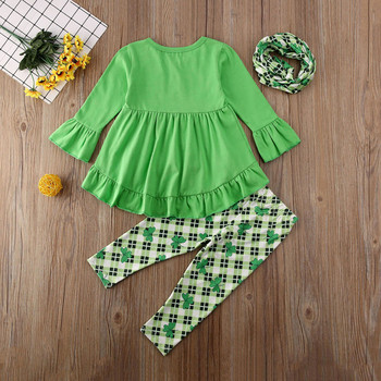St Patricks Day Toddler Kids Baby Girl Outfits Set Ruffle Top Dress Clover Print Pants Legging Kids Clothes Spring Children Set 1